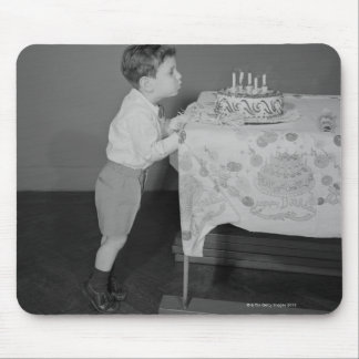 Boy Blowing Out Candles Mouse Mat