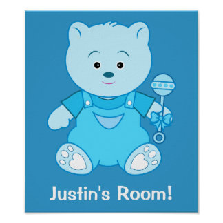 Boy Blue Teddy Bear with Rattle: Name Customizable Poster