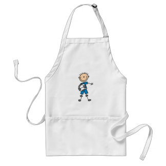 Boy Blue Uniform Stick Figure Soccer Player Gifts Standard Apron