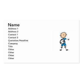 Boy Blue Uniform Stick Figure Soccer Player Gifts Business Card