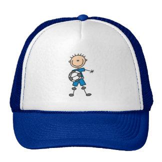 Boy Blue Uniform Stick Figure Soccer Player Gifts Hats