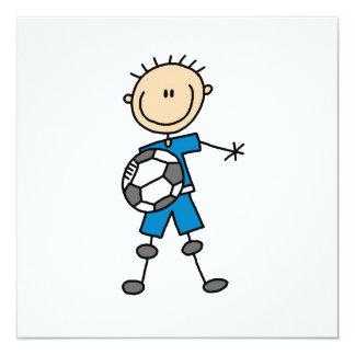 Boy Blue Uniform Stick Figure Soccer Player Gifts 13 Cm X 13 Cm Square Invitation Card