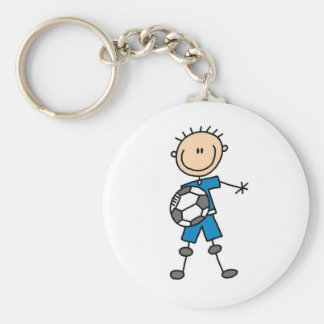 Boy Blue Uniform Stick Figure Soccer Player Gifts Key Chains