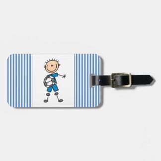 Boy Blue Uniform Stick Figure Soccer Player Gifts Luggage Tag