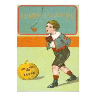 Boy Bobbing For Apples Smiling Jack O Lantern 13 Cm X 18 Cm Invitation Card