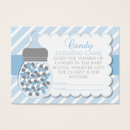Boy Bottle Baby Shower Guessing Game Business Card