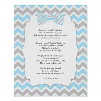 BOY Bow Tie Baby Shower Thank you Poster