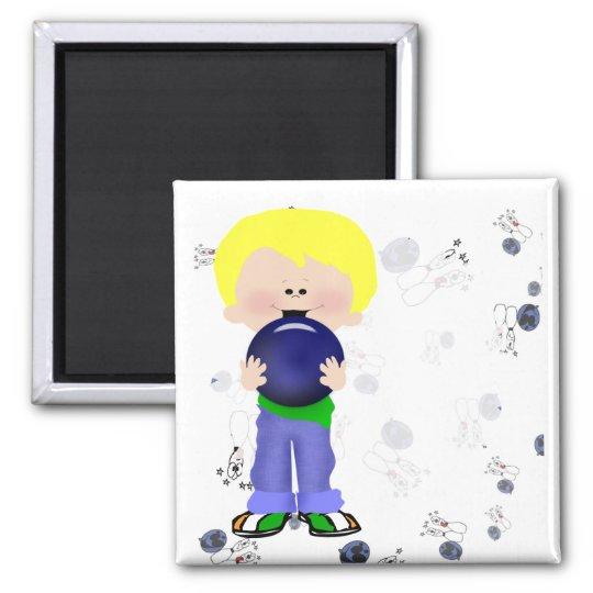 Boy Bowler Square Magnet