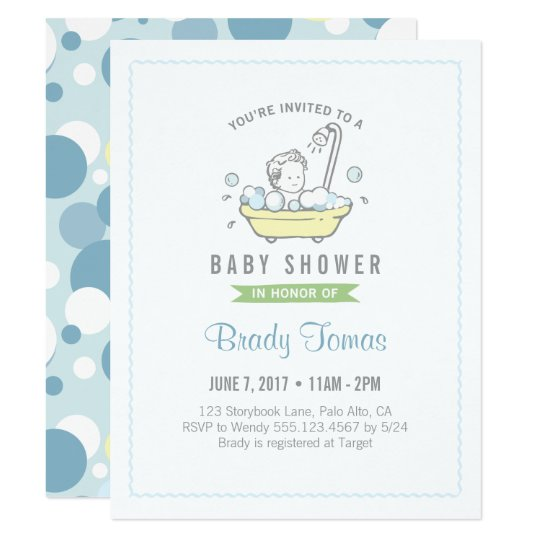 Boy Bubble Bath Baby Shower Invitation