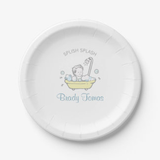 Boy Bubble Bath Baby Shower Paper Plate 7 Inch Paper Plate