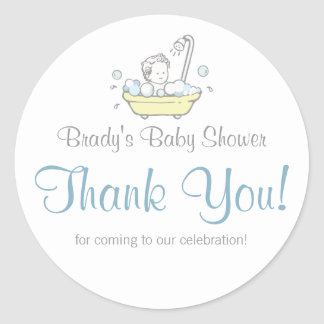 Boy Bubble Bath Baby Shower Thank You Stickers