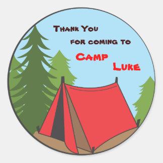 Boy Camping Birthday Party Favor Sticker