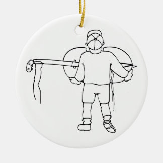 Boy Carrying Broken Upright Bass Back View Christmas Ornament