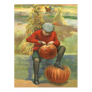Boy Carving Jack O Lantern Pumpkin Postcard