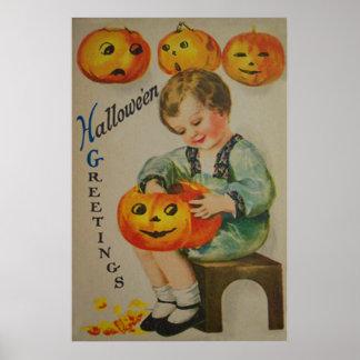 Boy Carving Pumpkin Jack O Lantern Poster