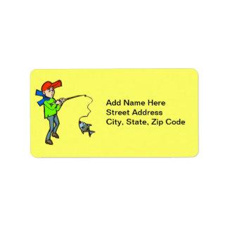 Boy Catching A Fish Address Label
