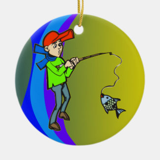 Boy Catching A Fish Christmas Ornament