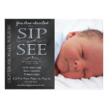 Boy Chalkboard Photo Sip and See Invitation