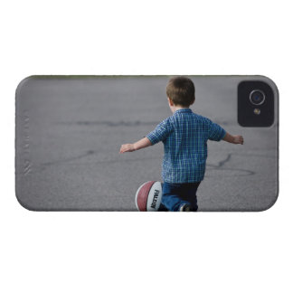 Boy chasing basketball outdoors iPhone 4 case