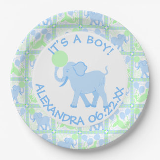 Boy Circus | Baby Shower Its A Boy Add A Name 9 Inch Paper Plate