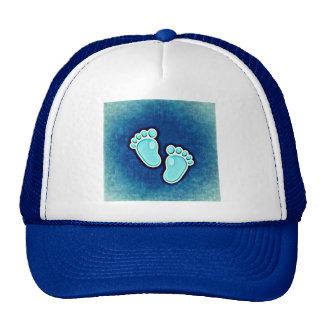 boy cute footprints crib newborn blue cap