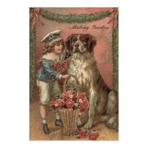 Boy Dog Rose Basket Birthday Art Photo
