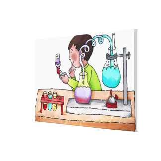 Boy Doing Science Experiment Canvas Print