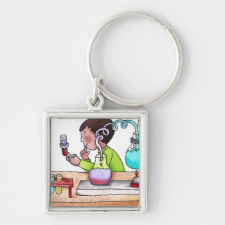Boy Doing Science Experiment Key Ring