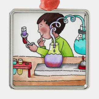 Boy Doing Science Experiment Silver-Colored Square Decoration
