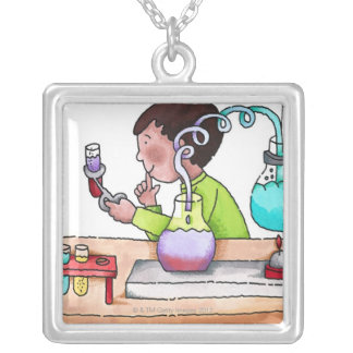 Boy Doing Science Experiment Silver Plated Necklace