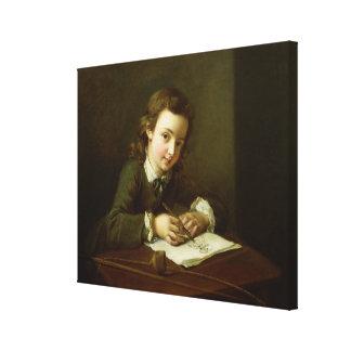 Boy Drawing at a Table Canvas Print