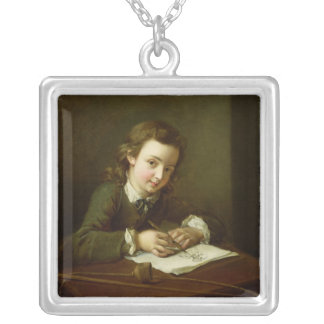 Boy Drawing at a Table Silver Plated Necklace