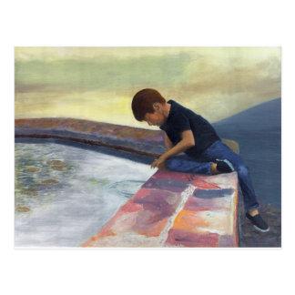 Boy Dropping Pebbles Postcard