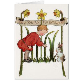 Boy Easter Bunny Daffodil Jonquil Greeting Card