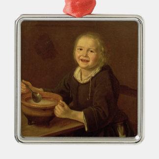 Boy eating Porridge (oil on canvas) Christmas Ornament