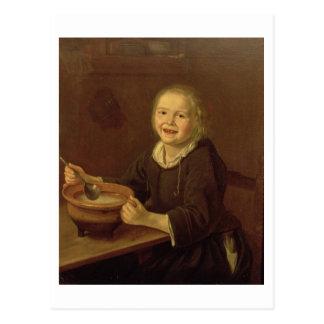 Boy eating Porridge (oil on canvas) Postcard