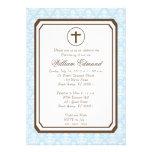 Boy Elegant Christening Invitation - Blue