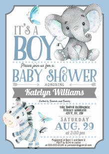 Elephant baby shower invitations zazzle uk boy elephant and zebra baby shower invitation filmwisefo