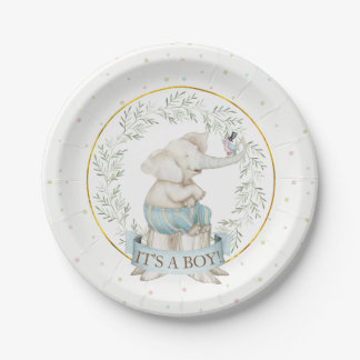Boy Elephant Baby Shower Blue Green Beige Paper Plate