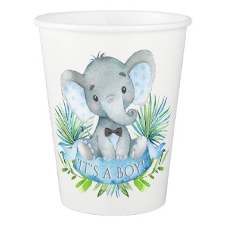 Boy Elephant Baby Shower Paper Cups