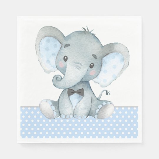Boy Elephant Baby Shower Paper Napkins Zazzle Co Uk