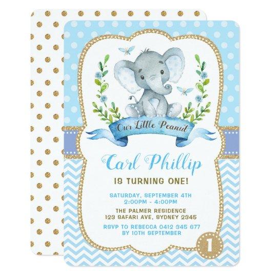 Boy Elephant Birthday Party Blue Gold Invite