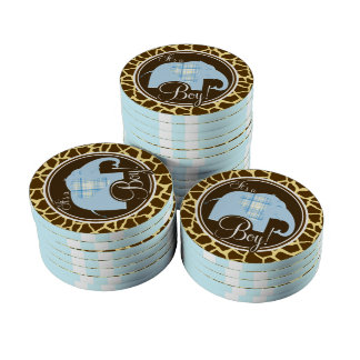 Boy Elephant; Brown Giraffe Animal Print Poker Chips