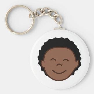 Boy Face Basic Round Button Key Ring