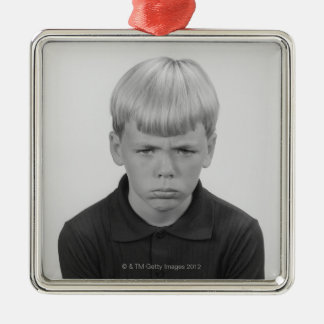 Boy Facial Expressions Silver-Colored Square Decoration