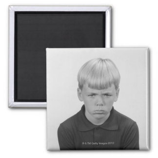 Boy Facial Expressions Square Magnet