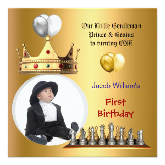 Boy First Birthday 1st Gentleman Prince Genius 13 Cm X 13 Cm Square Invitation Card