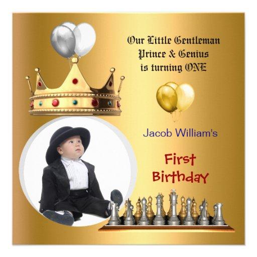 Boy First Birthday 1st Gentleman Prince Genius Custom Announcement