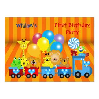 Boy First Birthday 1st Train Zoo Animals Party 4.5x6.25 Paper Invitation Card