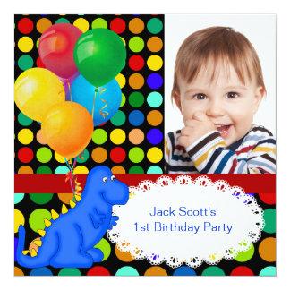 Boy First Birthday Party 1st Dinosaur Spots 13 Cm X 13 Cm Square Invitation Card